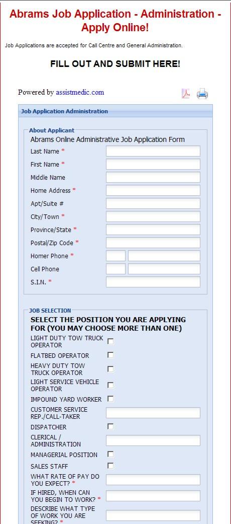 employment application form online template
